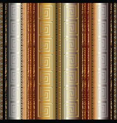 gold 3d striped greek seamless border pattern vector image