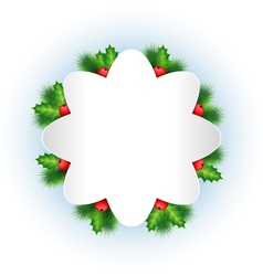 Grayscale frame with holly sprigs and pine vector