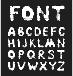 Grunge white alphabet on a black background vector