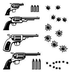 Handguns isolated on white background bullet holes vector