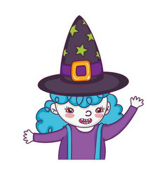Happy girl with witch costume and hat vector