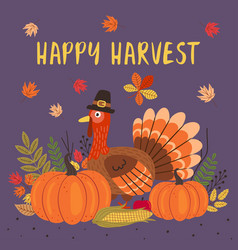 happy thanksgiving day card design vector image