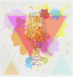 Hipster polygonal cocktail daiquiri vector