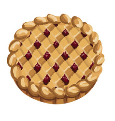homemade fruit and berry pie vector image