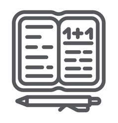 homework line icon paper and school notebook vector image