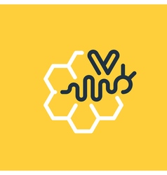 Honey cells and abstract bee concept vector