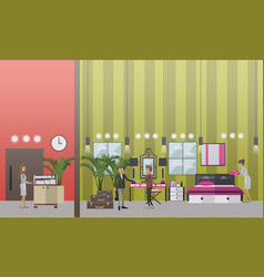 Hotel housekeeping in flat vector