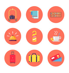 hotel stuff and baggage icons vector image