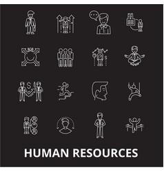 human resources editable line icons set on vector image