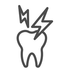 Hyper sensitive teeth line icon sick tooth and vector