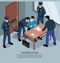 Interrogation isometric lawyer background vector