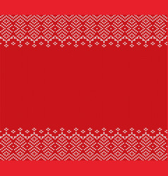 Knitted christmas geometric ornament design with vector