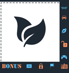 Leaves icon flat vector