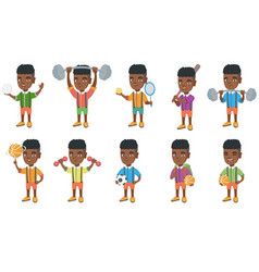 Little african boy set vector