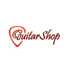 logo for guitar shop vector image