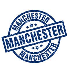 Manchester blue round grunge stamp vector