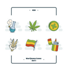 marijuana attributes icons set one vector image