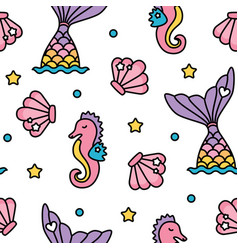 Mermaid and seahorse pastel rainbow color cute vector