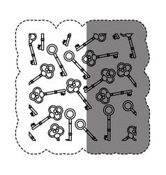 Monochrome contour sticker with pattern of vintage vector