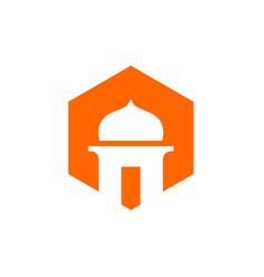 Mosque and orange color hexagon icon vector