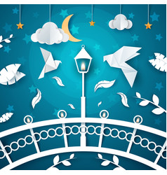 night paper landscape dove street light cloud vector image