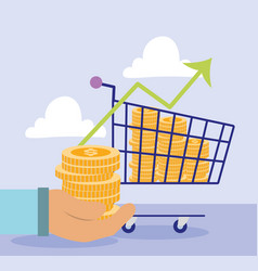 Online payment hand with coins money shopping vector