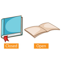 Opposite adjectives words with close and open vector