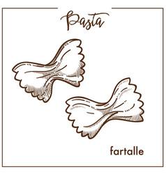 pasta farfalle chalk sketch icon for italian vector image