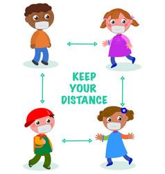 please kids keep distance vector image