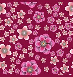 plum and peach flowers crimson background vector image