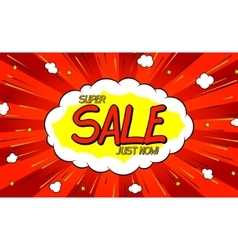 Pop art comic sale discount promotion banner vector image