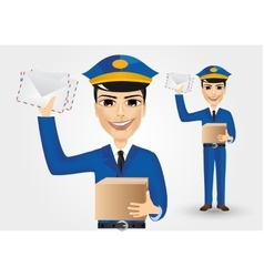 postman holding envelopes and cardboard box vector image