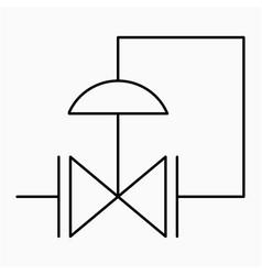 Pressure reducing regulator valve symbol icon vector