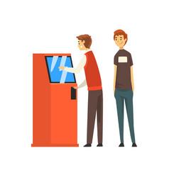 queue at atm man getting money through cash vector image