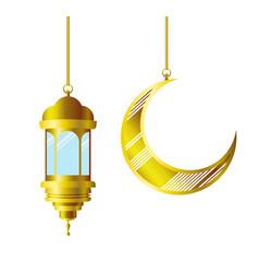Ramadan kareem lantern and moon hanging vector