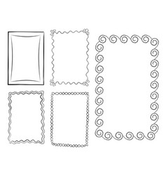 Rectangular doodle line art frames set vector