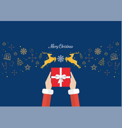 santa hands holding gift box with golden vector image