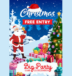 Santa xmas gifts and bell christmas party flyer vector