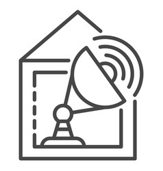 satellite home tv icon outline style vector image
