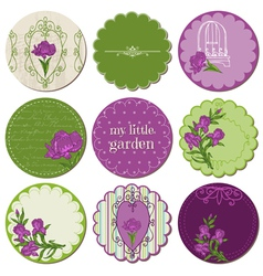 Scrapbook Design Elements - Tags with Iris Flowers vector image vector image