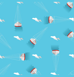 sea print seamless pattern with yachts and clouds vector image