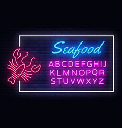 seafood neon sign neon frame seafood vector image