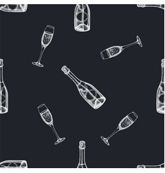 seamless pattern with hand drawn chalk champagne vector image