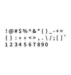 set of black punctuation marks and numbers on vector image
