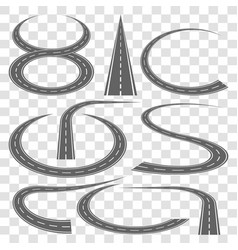 Set of curved highway tracks vector