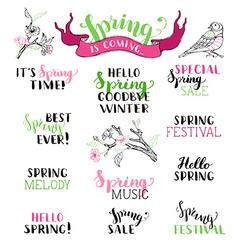 Set of hand-written spring brush lettering vector