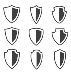 shield icons set placed on white background vector image