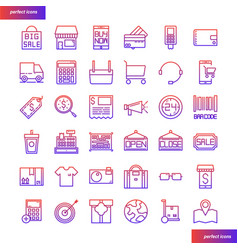 shopping and ecommerce color line icons perfect vector image