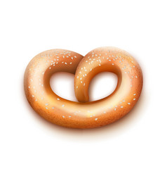 Single fresh pretzel vector