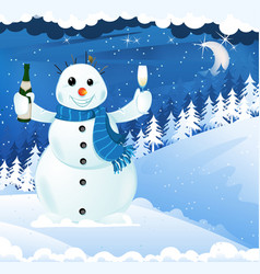 snowman with champagne vector image